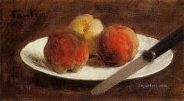 Still life Painting - Plate of Peaches Henri Fantin Latour still lifes